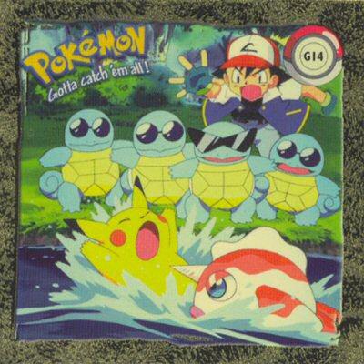 Ash, Squirtles, Pikachu a Goldreen