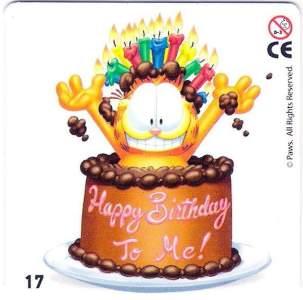 Garfield v narozeninovém dortu